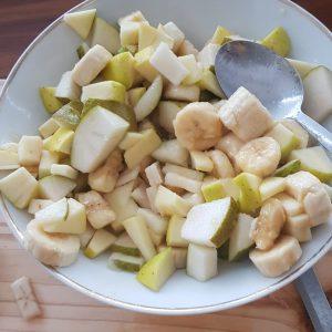 Quark-Joghurt-Obstsalat Shirzad und Sebastian